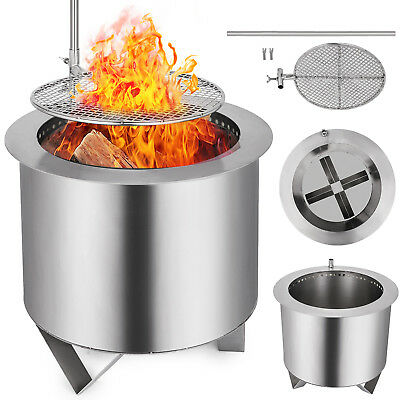 Double Fire Pit Patio Burner With BBQ Grill Smoke-less Wood-Burning Flame PRO