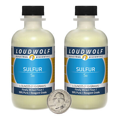 Sulfur 8 Ounces 2 Bottles 99 Pure Reagent Grade Finely Milled Flour