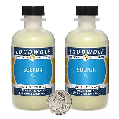 Sulfur 8 Ounces 2 Bottles 99 Pure Reagent Grade Finely Milled Flour