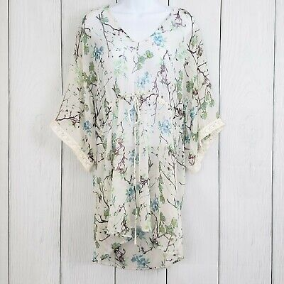 ZARA Trafaluc Collection sz Medium Floral Sheer Tunic Dress Cover Up Tie Lace