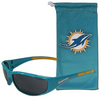 Miami Dolphins Wrap Sunglasses with Microfiber Bag (NFL Football) (Dolphin With Sunglasses)