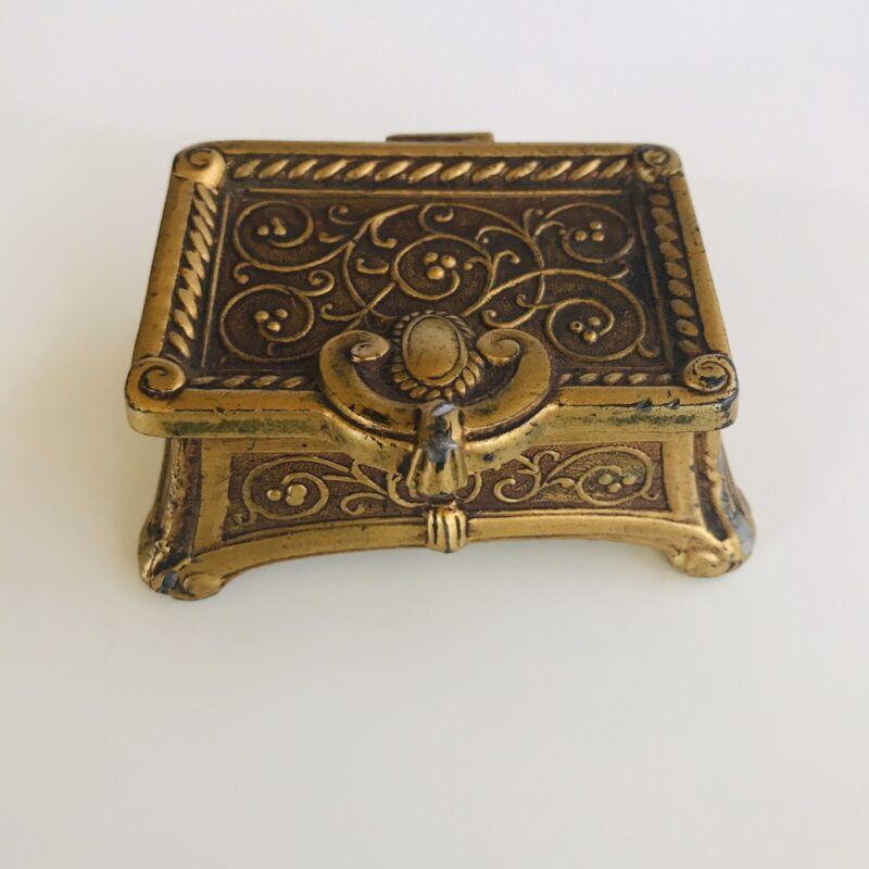 Antique L V Aronson 1924 Brass Egyptian Revival Small Jewelry Box Pill Box