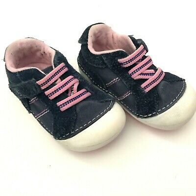 Baby Girls Stride Rite Skyler Shoes 3M Pink And Navy Sneakers