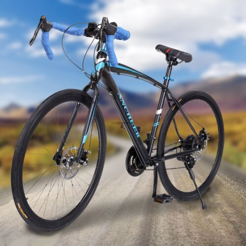 Ancheer Racing Bike 21 Speed Road Bike Black Commuter Bicycle 49.5cm 700c