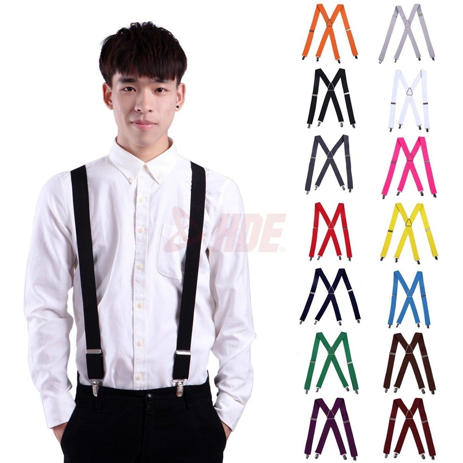 "Men's Big and Tall X-Back Clip Suspenders 1.5"" Wide Adjustab"