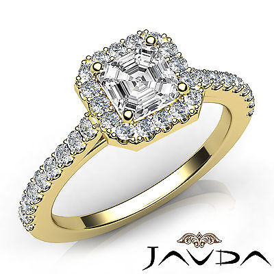 Halo Prong Setting Asscher Diamond Engagement Ring GIA Certified G Color VS1 1Ct