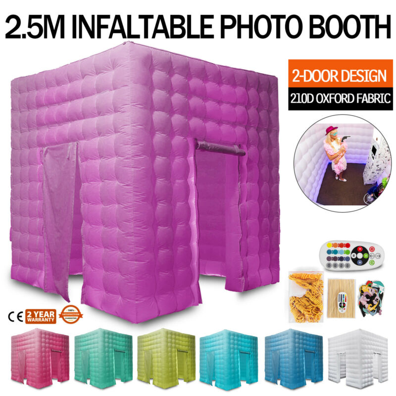2 Door Inflatable LED Air Pump Photo Booth Tent 7 Colors Fun Party 8.2FT TOP A++