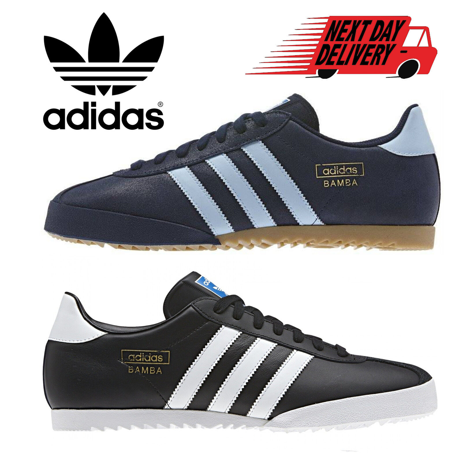 sports shoes 36042 e1fe5 Details about Adidas Originals Bamba Mens Trainers Casual Retro Sports  Sneakers