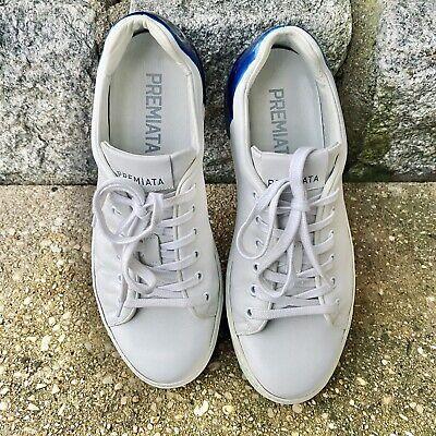 Premiata Polo 31036 White Blue Leather Sneakers Sz. 42 EUC