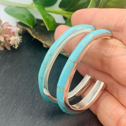 925 Taxco Mexican Sterling Silver Oval Hoops Turquoise Earrings Handmade Mexico