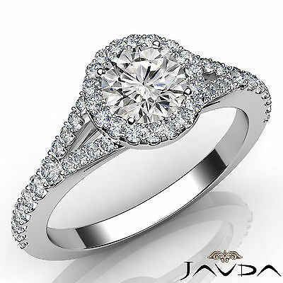 U Pave Set Split Shank Halo Round Diamond Engagement Ring GIA D Color VS1 1Ct