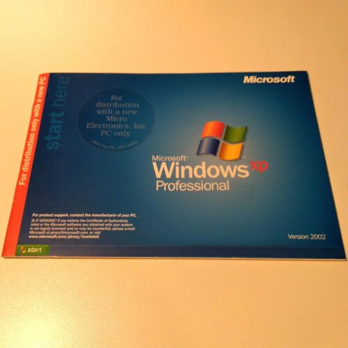 Microsoft Windows XP Professional Version 2002 Instruction Booklet Only