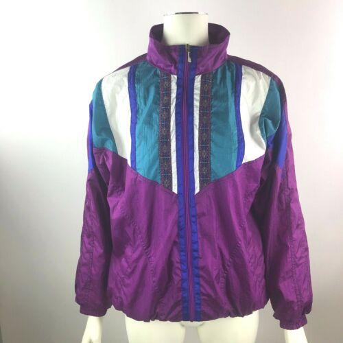VTG 90s 2 Pc Purple Teal Colorblock Nylon Windbreaker Tracksuit Warmup Women