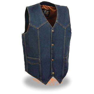 Milwaukee Leather Men's Classic Snap Front Denim Biker Vest-DM1310(BLUE)&(BLACK)