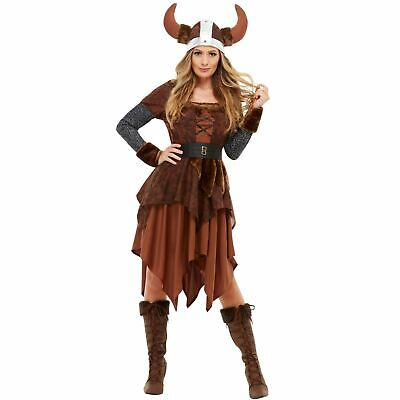 Ladies Adults Viking Barbarian Warrior Queen Fancy Dress Party Costume Women's - Viking Lady Costume
