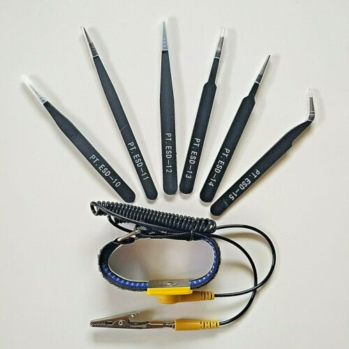 Anti-Static Repair Tools Kit Set 6PCS Twezers & Adjustable ESD Wrist Strap Band
