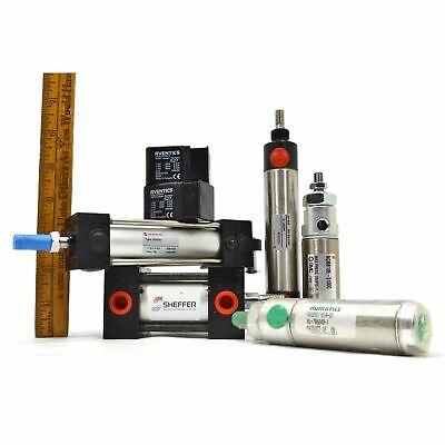 New Pneumatic Cylinder Lot Of 5 Air Cylinders 2 Valves Norgren Smc Numatics