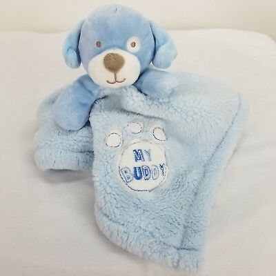 Baby Gear Blue Puppy Dog Lovey Security Blanket Blankie My Buddy Paw Print