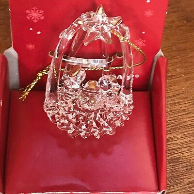 Estate Small Spun Clear Glass PEACE ON EARTH Mary Joseph & Baby Jesus Christmas