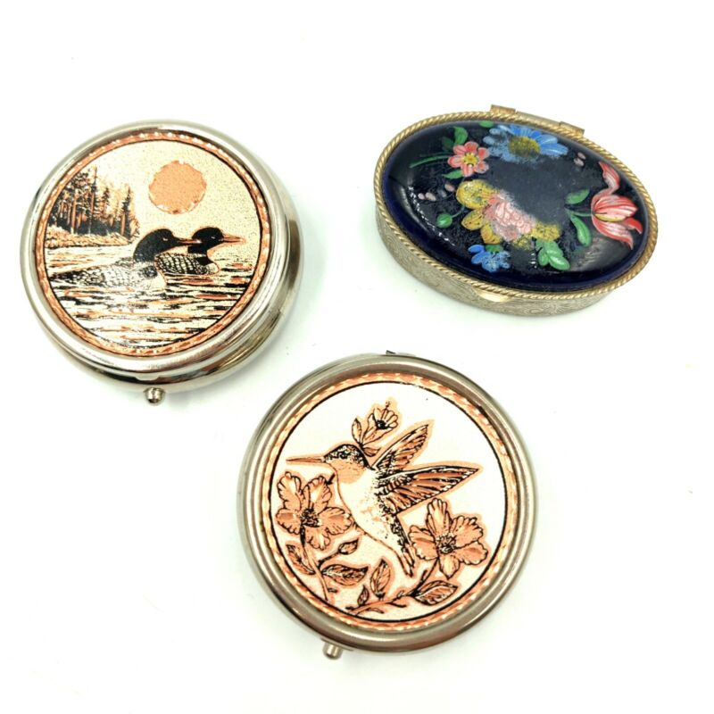 Lot Of 3 Vintage/Modern Pill Boxes Loons Hummingbird Painted Etched Ceramic