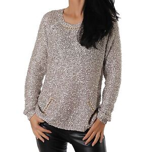 Jersey señora jersey de punto cadenas punto lentejuelas suéter de cuello redondo marrón NUEVO