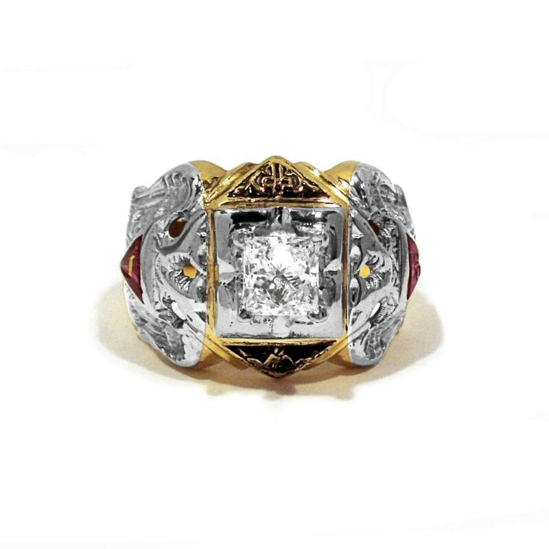 GOTHIC SOLID 10K YELLOW & WHITE GOLD & 0.85CT DIAMOND MASONIC RING ~ SIZE 8 1/2