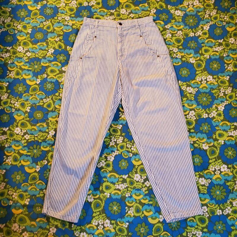 Vintage LEE Pants - VTG 80s 90s Striped Railroad Painter carpenter - White Blue
