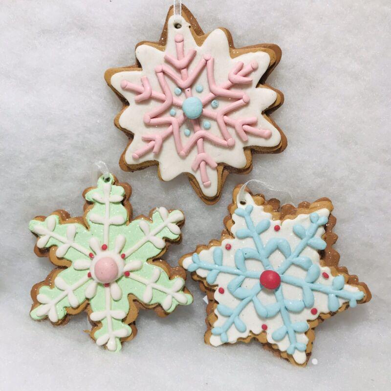 Pastel Snowflake Christmas Tree Ornaments, Set/3