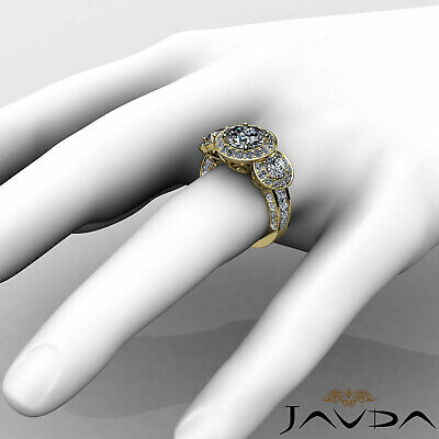 3 Stone Dazzling Round Diamond Solid Engagement Ring GIA G SI1 Platinum 2.3 ct 11