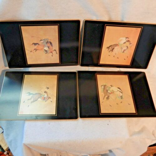 RARE Scully & Scully NY MING POLO HORSES Chinese Vintage Table Mats Placemats