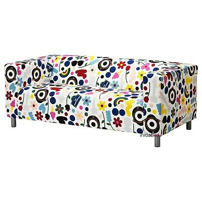 Original Ikea KLIPPAN 2-Seat Loveseat Cover, Fornyad Multicolor Cotton Slipcover