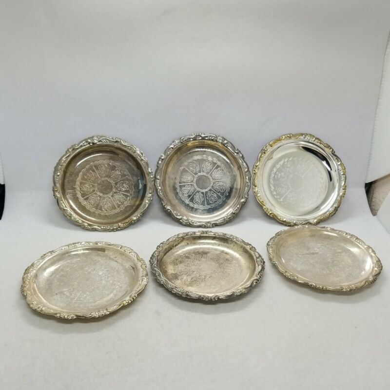 Lot of 6 Readers Digest Silver plated coasters