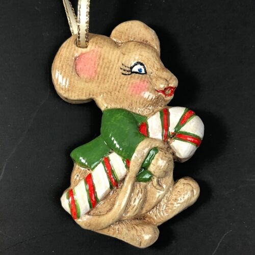 Vintage Mouse Candy Cane Christmas Ornament Mice Hand Painted