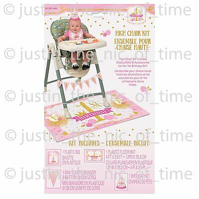 First 1ST BIRTHDAY Pink & Gold Girl Party 4 Piece High Chair Decorating Kit