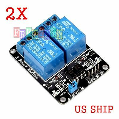 2x Pcs 2 Channel Dc 5v Relay Switch Board Module Arduino Raspberry Pi Arm Avr