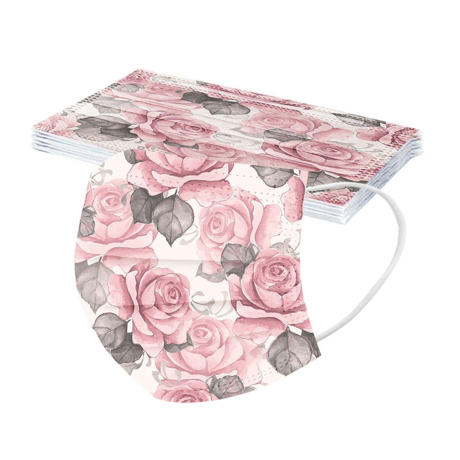 10-50x Mund-Nasen-Maske Blumen Rose Rosen Floral Muster Motiv bunt farbig Rosa