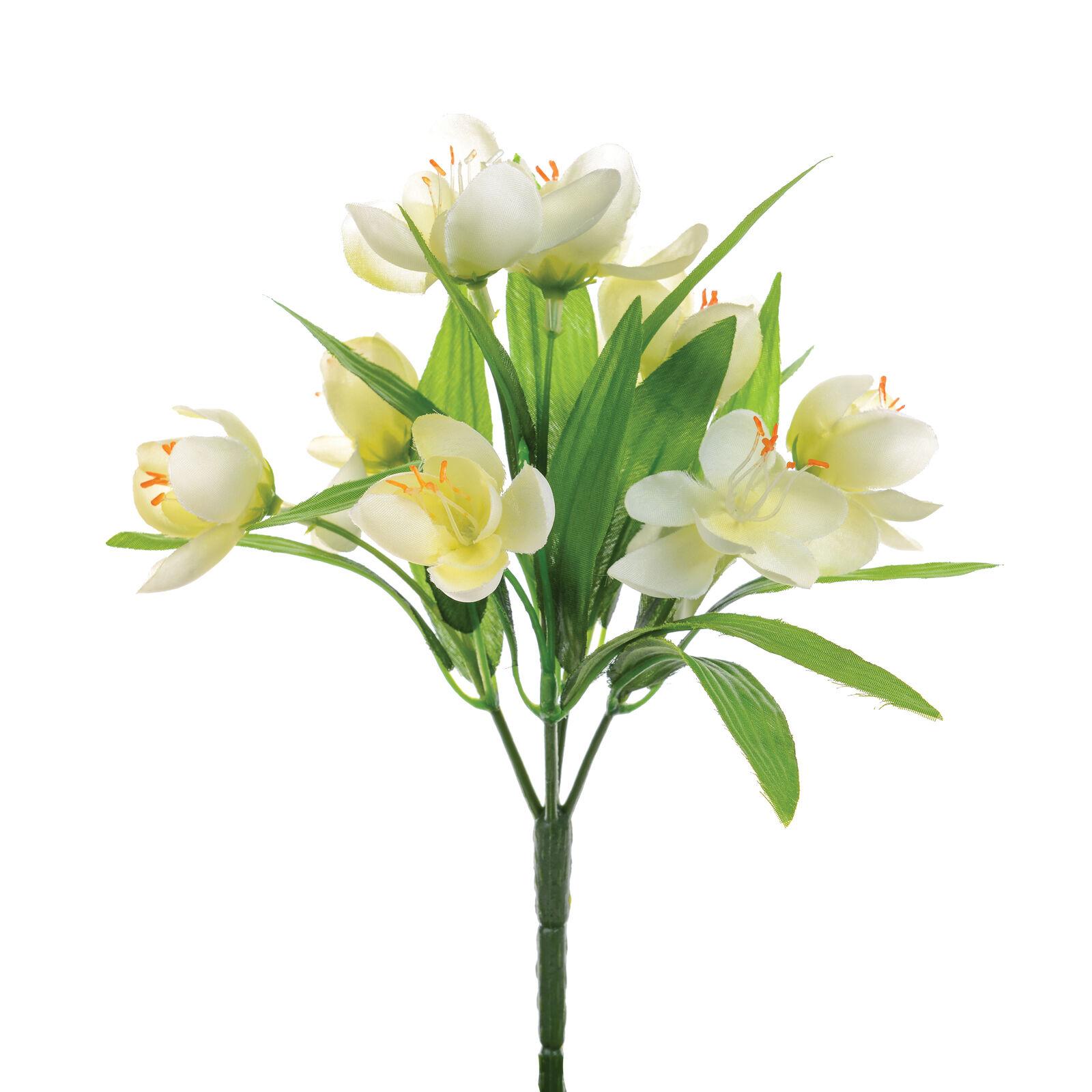 Seta artificiale tessuto finto fiori croco grappolo bianco for Fiori a grappolo