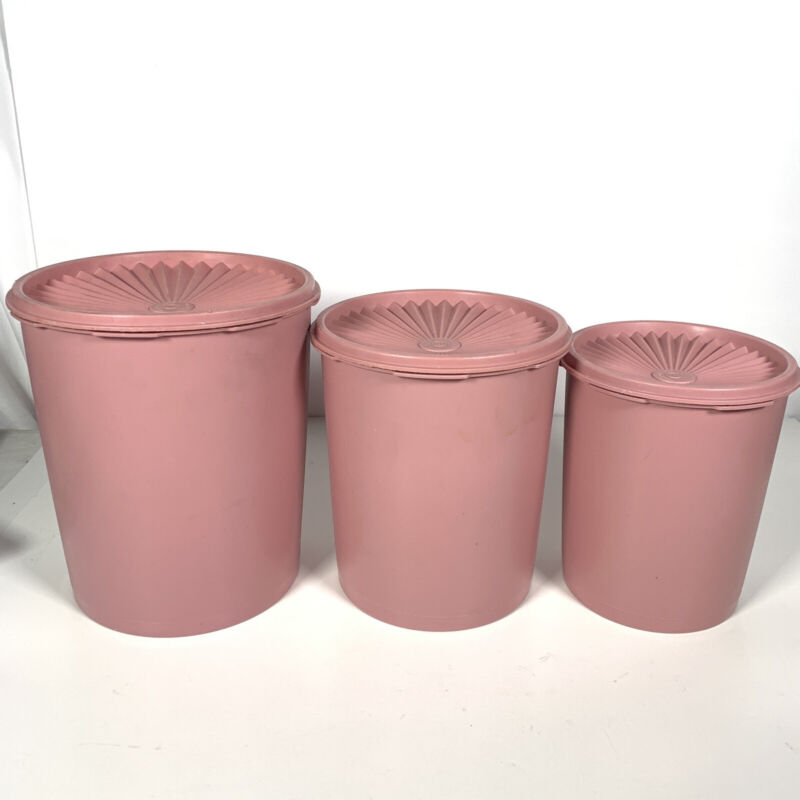 Vintage Tupperware 6 Pc / 3 Nesting Canister Set Pink/Mauve w Lids Dusty Rose