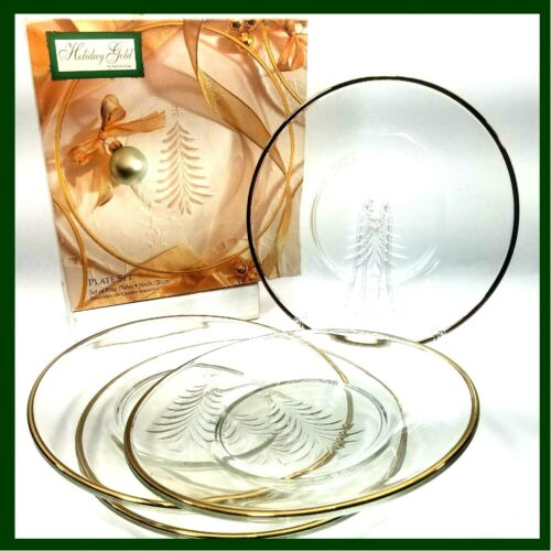 Christmas Desert Salad Plates Etched Tree GOLD TRIM Holiday Indiana Glass Set 4