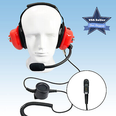 Behind The Head Red Noise Reduction Two Way Radio Headset Cable for Motorola XPR