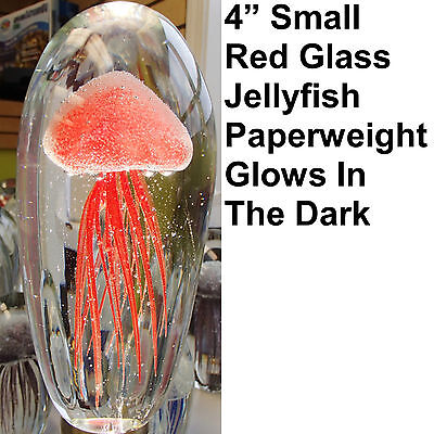 """Small Red Glass Jelly Fish Paperweight 4"""" Glow In The Dark"""