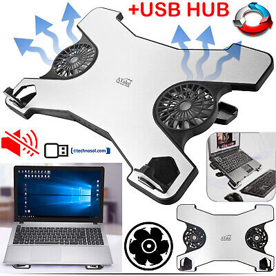 LAPTOP COOLING PAD USB NOTEBOOK COOLER FAN 2 FANS LED LIGHT ADJUSTABLE STANDING