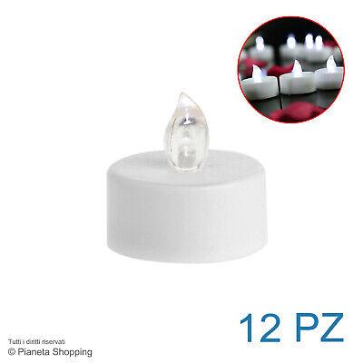 Set 12x Candele Candeline LED Lumini Atmosfera Luce Fredda Senza Fiamma Batteria