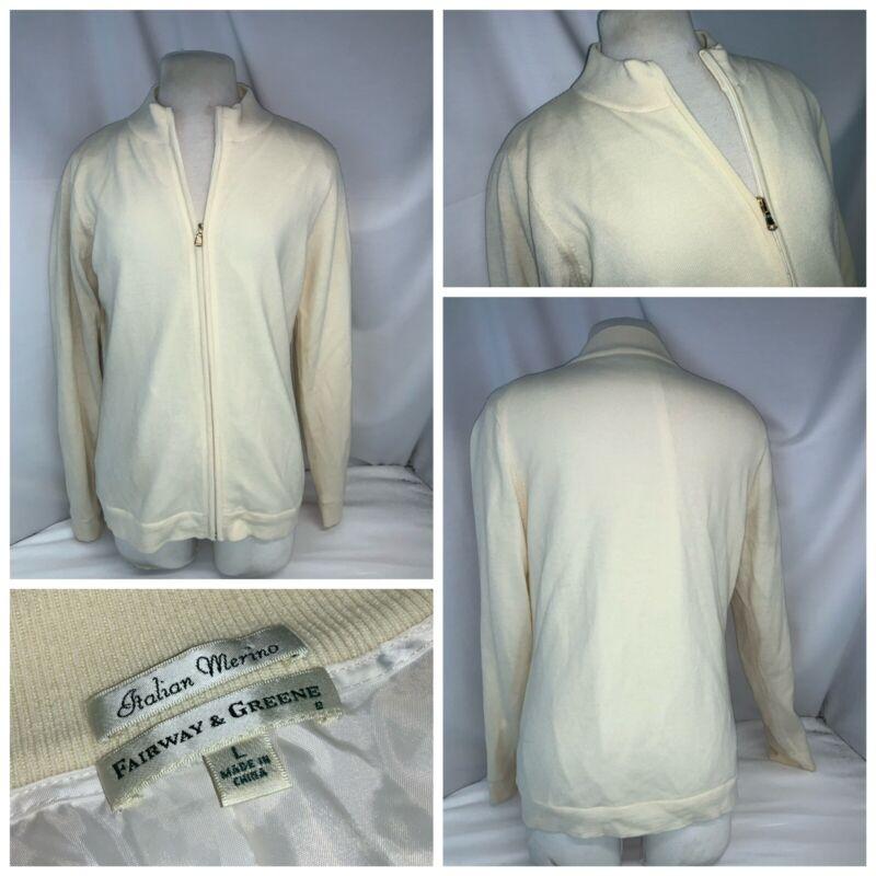 Fairway Greene Golf Jacket L Women Ivory 100% Merino Nylon Full Zip YGI F1-250
