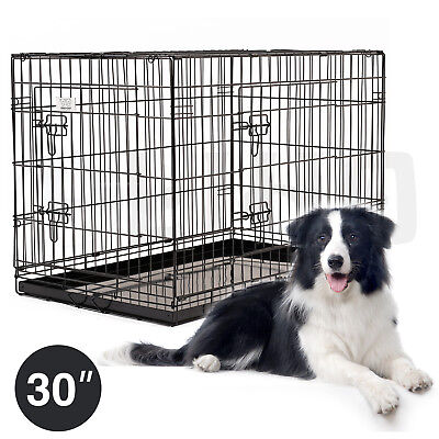 30'' Pet Kennel Dog Cat Folding Metal Crate Portable Cage Animal Playpen W/Tray