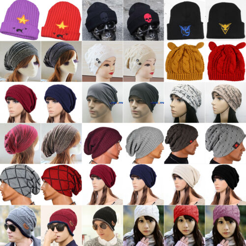Unisex Mens Knitted Slouchy Beanie Cap Baggy Winter Hat Over