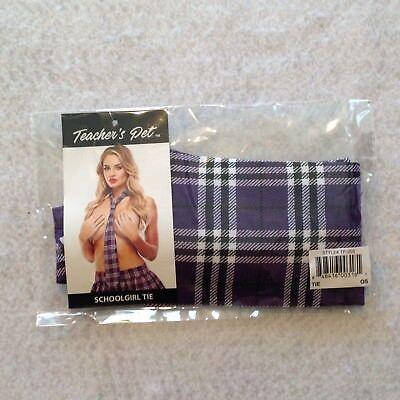 Teachers Pet School Girl Tie Purple Tartan Plaid 56