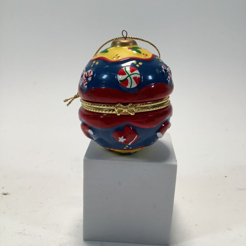 Vintage Collectible Christmas Ornament Red Blue Hinged Lid Trinket Box 2.5 inch