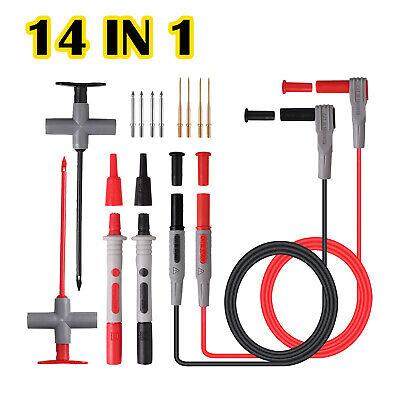 14 In 1 Multimeter Test Lead Kit Wire Piercing Probe Clip For Fluke Meter Power