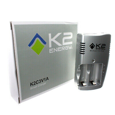 K2 Energy K2C123A 2 Slot Portable Lithium Ion CR123 Battery Charger